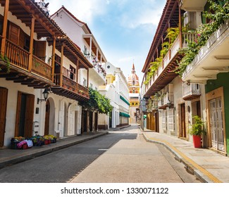 Cartagena, Colombia - Aug 3, 2016: Street view and Cathedral - Cartagena de Indias, Colombia