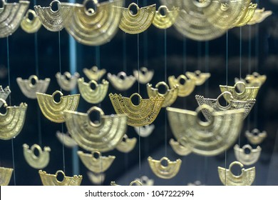 CARTAGENA, COLOMBIA - AUGUST 3: Pre-Columbian gold jewellery in the Gold Museum on August 3, 2017 in Cartagena, Colombia.