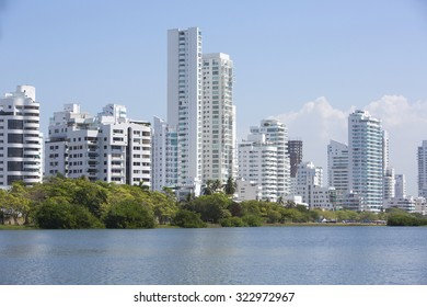 CARTAGENA, COLOMBIA, JANUARY 9: View of residential buildings in the new and modern area of Cartagena facing the Caribbean Sea, Colombia 2014