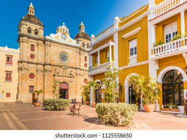 Cartagena, Colombia. march 2018. A view of the cathedral San Pedro Claver in Cartagena Colombia.