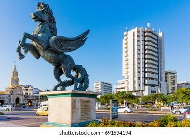 Cartagena , Colombia  - March 5, 2017 : Pegasus Statues in Centro Historicoaera of Cartagena de los indias Bolivar in Colombia South America