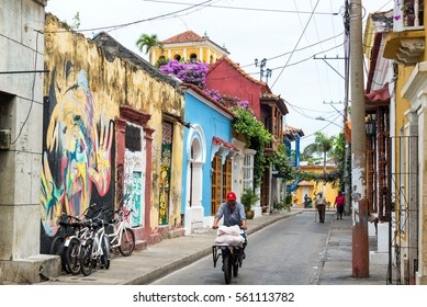 CARTAGENA, COLOMBIA - MAY 24: Colorful street view in the Getsemani neighborhood in Cartagena, Colombia on May 24, 2016
