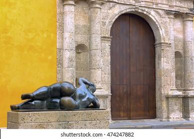 CARTAGENA, COLOMBIA - MAY 25: Sculpture by Fernando Botero in Santo Domingo Plaza in Cartagena, Colombia on May 25, 2016