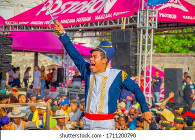 CARTAGENA, COLOMBIA - NOVEMBER 07, 2019: Parader in costume at the independece day parade on the streets of Cartagena