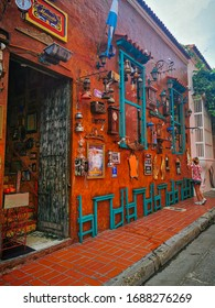 CARTAGENA, COLOMBIA - NOVEMBER 12, 2019: Streets of the colorful historic city centre, which itself is a tourist attraction of Cartagena, Colombia