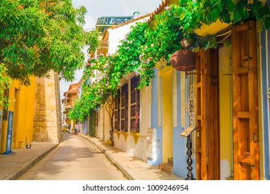 CARTAGENA, COLOMBIA- October  22, 2017: Cartagena city street with colorful buildings of Cartagena Walled City