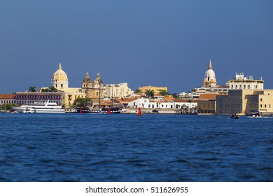 CARTAGENA, COLOMBIA - OCTOBER 29, 2015: Boats in the public port of Cartagena. It is the fifth-largest city in Colombia and the second largest in the region, after Barranquilla.