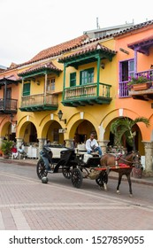 CARTAGENA, COLOMBIA - SEPTEMBER 15, 2019: Unidentified people on the street of Cartagena, Colombia. Cartagena is a port city on Colombia's Caribbean coast