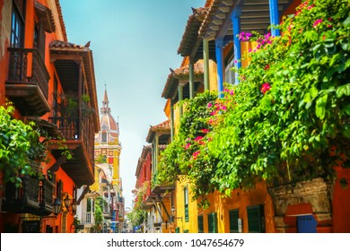 Cartagena Colombia sights looking towards town square