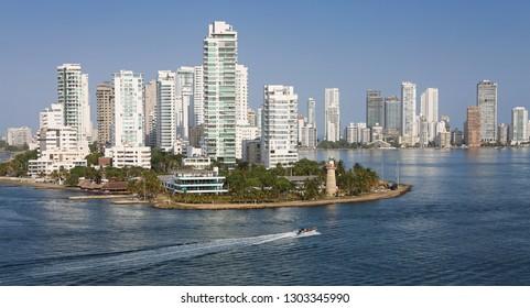 Cartagena, Columbia, January 29, 2019. Sea view on Caribbean cost, skyline.