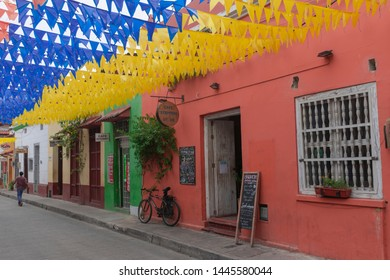 Cartagena de Indias, Bolivar, Colombia; 07/08/2019: One of the best neighborhood of the world, that why  that Forbes magazine has included in the best ten places in the world.