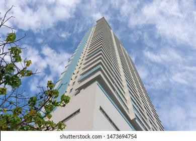 Cartagena de Indias, Bolivar/Colombia, 08/07/2019: Photograph up of The Palmeto eliptic building in El Laguito urban zone