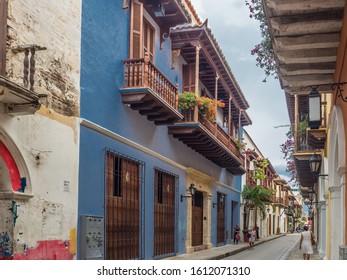 Cartagena de Indias - Colombia, November 13, 2019 - Street of  Cartagena de Indias - Colombia