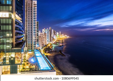 Cartagena de Indias, Colombia, view of Bocagrande area skyline at dusk.
