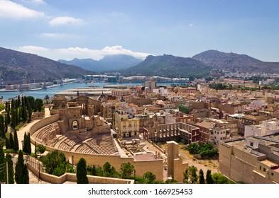 Cartagena looking over the Roman Amphitheater, Spain