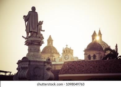 Cartagena plaza, central square in Cartagena, Colombia, Latin America