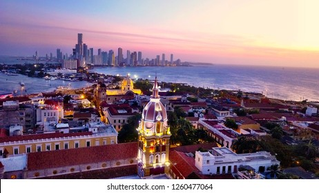 Cartagena skyline Colombia at sunset