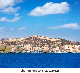 Cartagena skyline in Murcia at Mediterranean sea of Spain