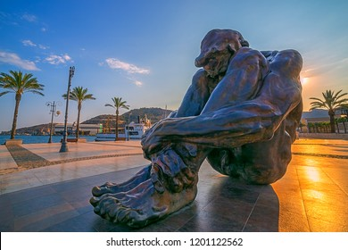 Cartagena, Spain - August 25, 2018: Monument El Zulo, created by sculptor Victor Ochoa. Dedicated to the victims of terror in Madrid in 2004