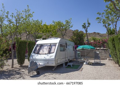 Cartagena, Spain - May 14, 2017: Caravan on a camping site in southern Spain