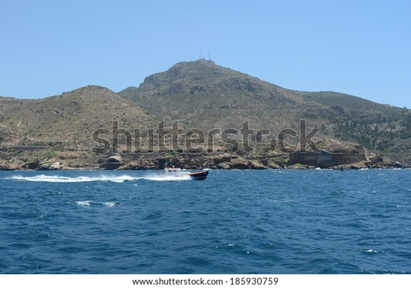 CARTAGENA, SPAIN - MAY 28, 2013:  Cartagena - The Mediterranean city and seaport located on the south-east coast of Spain.Home Spanish naval base with a comfortable deep bay.