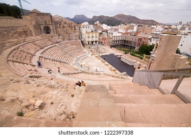 CARTAGENA SPAIN ON JUNE 4, 2017: The Roman Theatre in Cartagena, Spain on June 4, 2017
