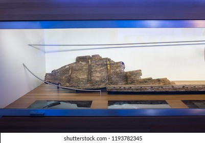 Cartagena, Spain - September 14th, 2018: Phoenician ship Mazarron 1 at ARQUA, National Museum of Underwater Archaelogy