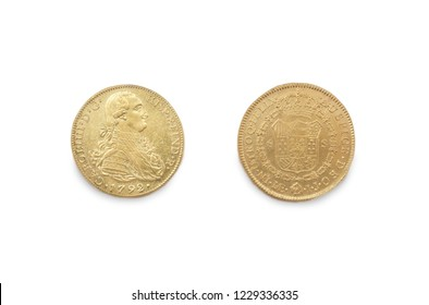Cartagena, Spain - September 14th, 2018: Gold spanish pieces of eight or Charles III escudos, minted in 1792 at ARQUA Museum, Spain