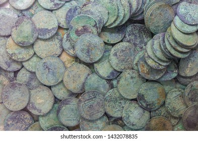 Cartagena, Spain - September 14th, 2018: Recovered silver spanish coins recovered from sunken ship. ARQUA Museum, Spain