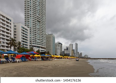 "Cartagena/Colombia-12/6/2019: Bocagrande - the beach district of Cartagena de Indias, called ""Miami"" by locals. Condos, timeshares, hotels and shopping centers. An the beach."