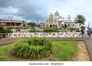 CARTAGO, COSTA RICA - JANUARY 25: The pilgrimage site Our Lady of the Angels Basilica (Basilica de Nuestra Senora de los Angeles) in Cartago, Costa Rica on January 25, 2015