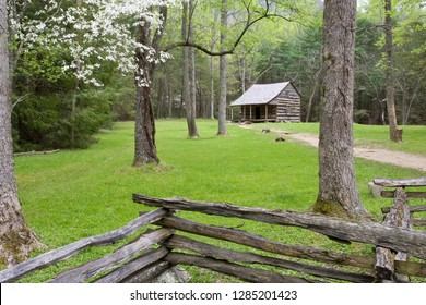 Carter Shields Cabin in spring, Cades Cove area, Great Smoky Mountains National Park, Tennessee