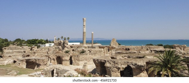 Carthage ancient city ruins. The capital of ancient Carthaginian civilization. Tunisia. Northern Africa