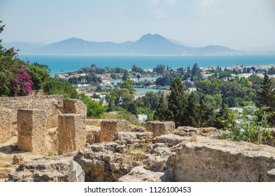 Carthage. Ruins of Phoenician district. Scenic view of harbor and Mediterranean Sea. Nature and travel. Tunisia. UNESCO World Heritage site