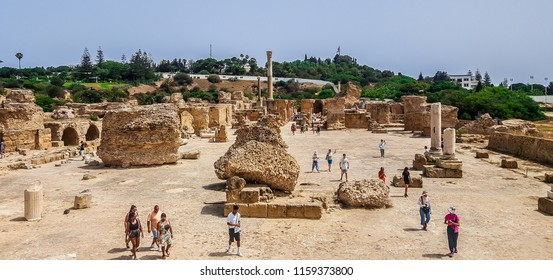 Carthage, Tunis, Tunisia, July 01, 2018: Ancient ruined monuments.