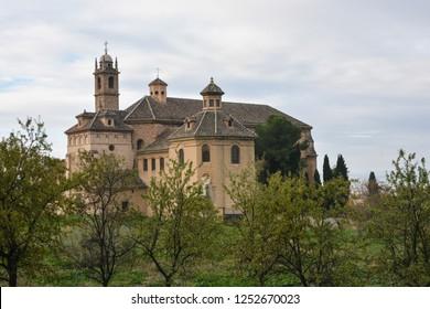 Carthusian monastery in Granada.  Monastery in November, Andalusia, Spain.
