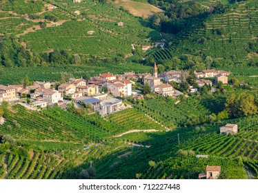 Cartizze hills vineyards and caves in Valdobbiadene area, where Prosecco wines are grown.