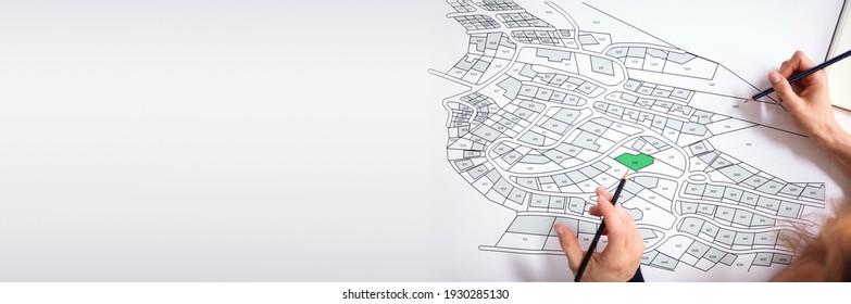 Cartographer Land Map Plot. Cartographer Or Building Developer - Shutterstock ID 1930285130