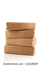 Carton archive boxes isolated over white background