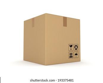 Carton box isolated on white background.