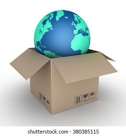 Carton box is opened and the globe is inside it
