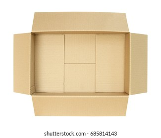 Carton box, top view (with clipping path) isolated on white background