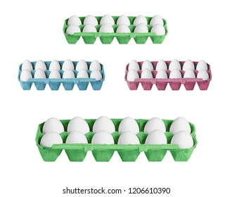 carton boxes with eggs isolated on the white background