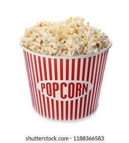 Carton bucket with delicious fresh popcorn on white background