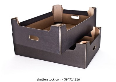 Carton cardboard black-brown box crate for vegetables, fruit, and things. isolated on white background.