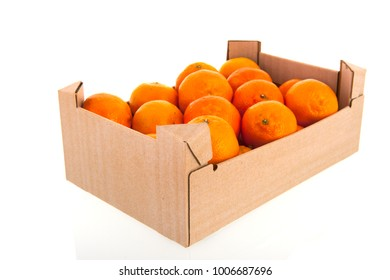 Carton crate tangerines isolated over white background