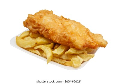 Carton of fish and chips. A traditional British takeaway choice isolated on white
