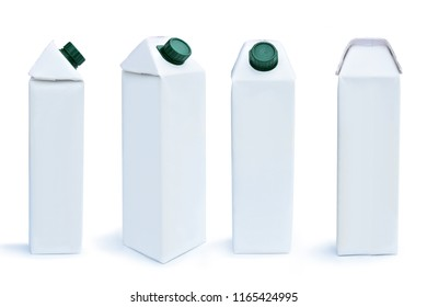 A carton of milk, paper carton box of juice isolated on white background. This has clipping path.