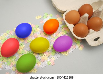 Carton of ombre dyed Easter eggs. happy easter holiday background. brown eggs lie on spring time season . open cartoon  box. springtime