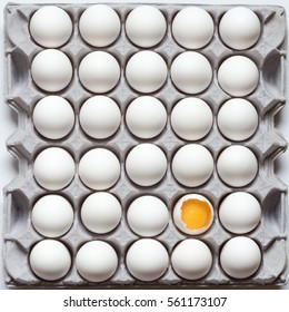 Carton of thirty eggs - top view